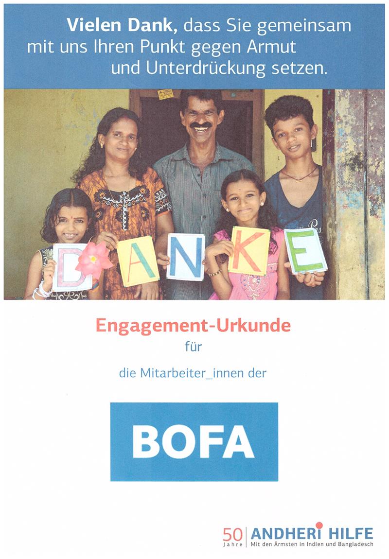 Engagement-Urkunde der Andheri-Hilfe