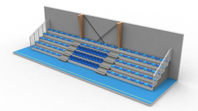 plan 3D tribune fixe - ©Doublet