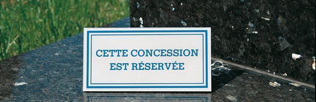 Plaque pour concession de cimetière
