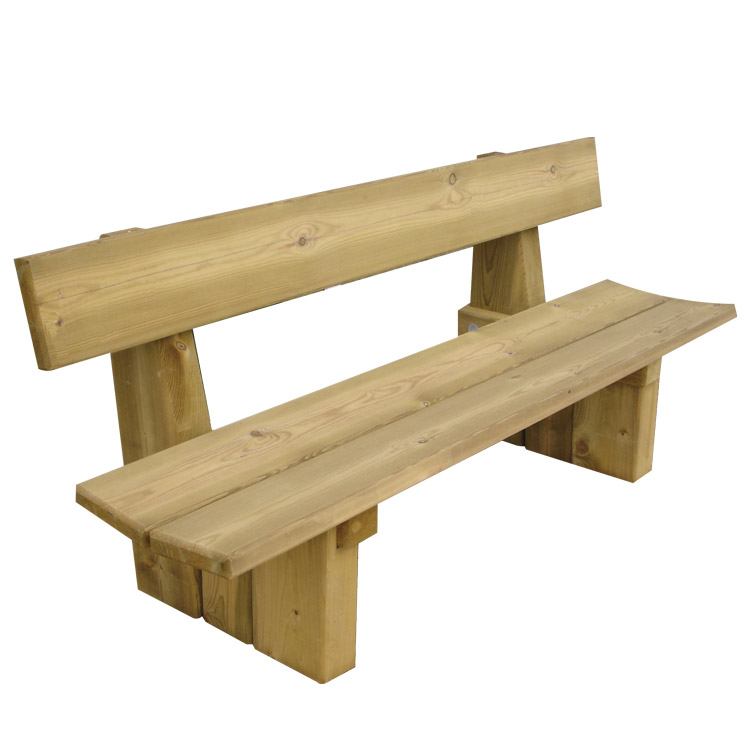 Banc san francisco en b ton finition pierre et bois doublet for Banc de table en bois