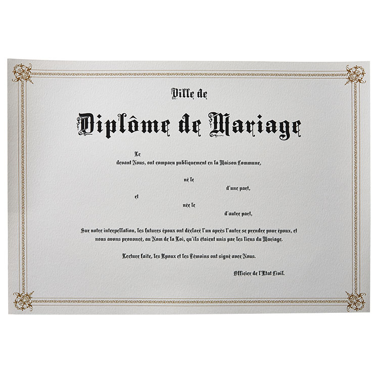 Diplômes de mariage