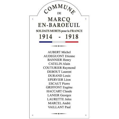 Plaque commémorative Centenaire 14/18 - 38 x 74 cm