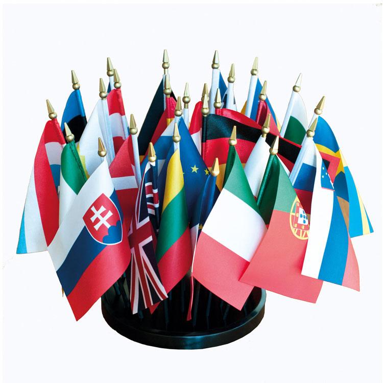 Kit 29 drapeaux de table Satin Europe