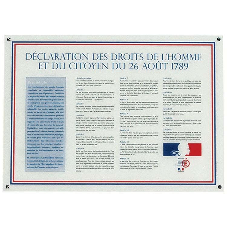 Déclaration des Droits de l'Homme sur Plexiglas A1