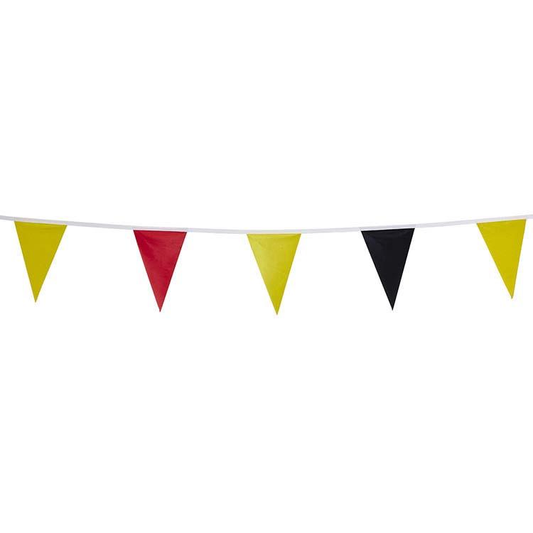 Guirlande triangulaire - noir jaune rouge
