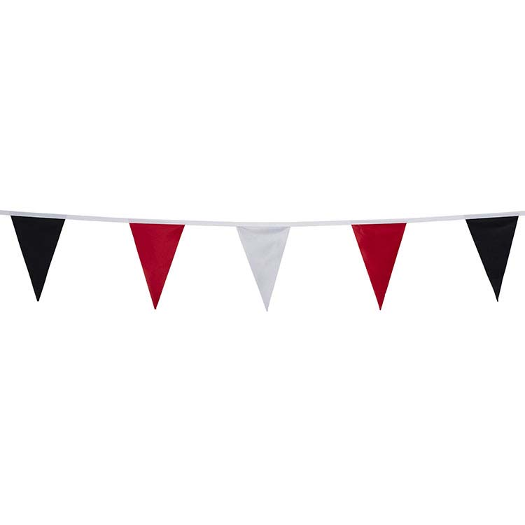 Guirlande tissu racing noir rouge blanc 20 fanions for Interieur paupiere inferieure rouge