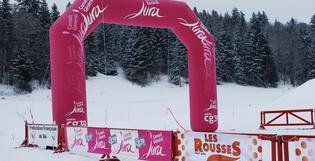 Une arche gonflable pour le Biathlon
