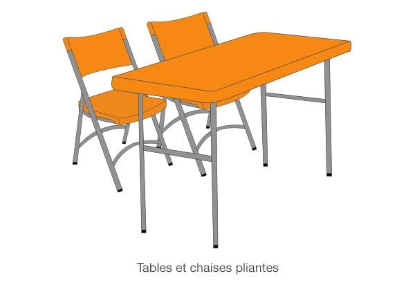 Tables et chaises pliantes pour élection