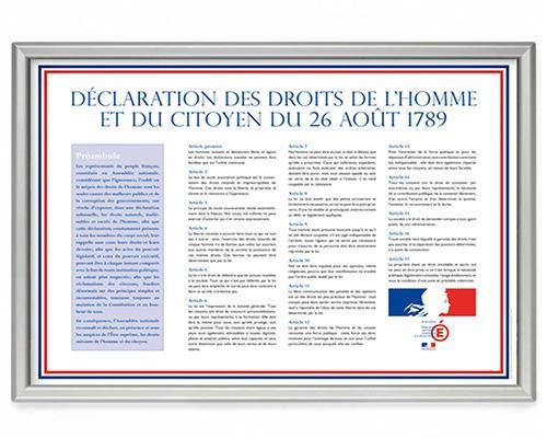 panneau imprimé déclaration des droits de l'homme et du cityon