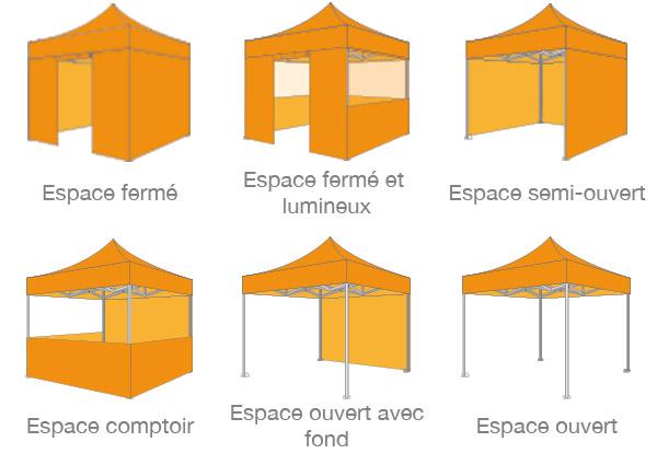 configurations de tente pliante