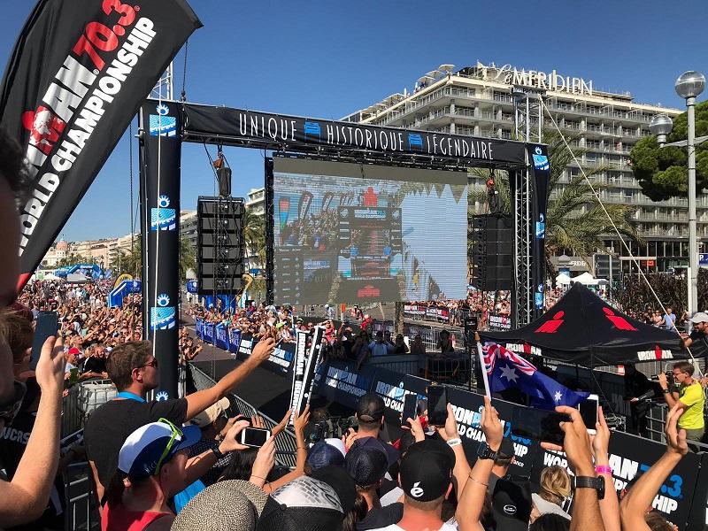 Doublet aux Championnats du Monde IRONMAN 70.3 : finish line sous le soleil de Nice !