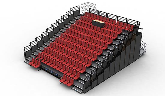 plan 3D tribune télescopique - ©Doublet