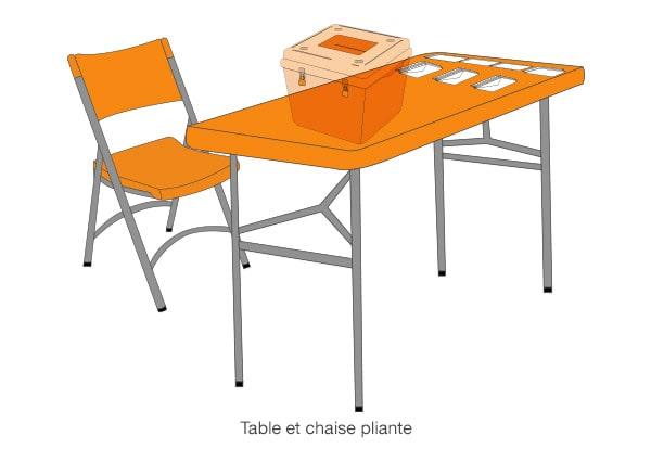 Table et chaise pour élections