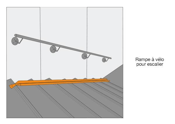 Rampe d'accès escaliers pour vélo