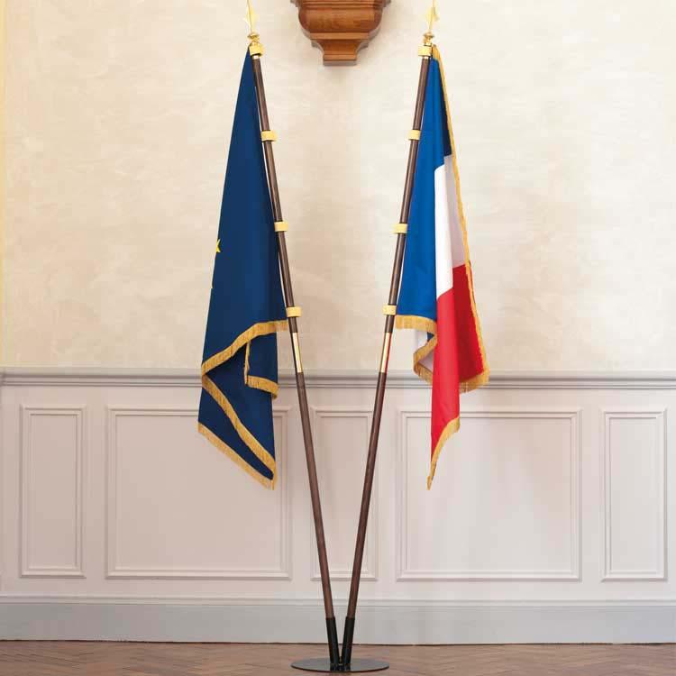 Drapeau européens et français d'intérieur Prestige