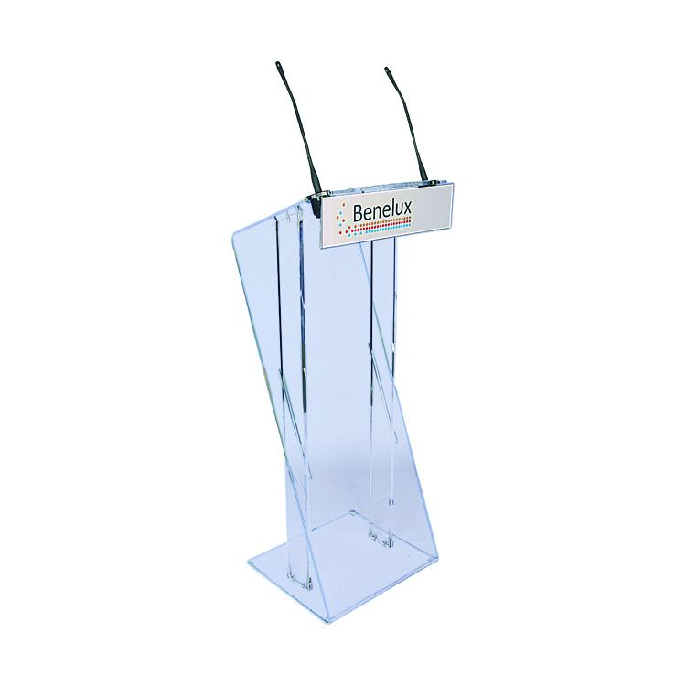 Pupitre Z en Plexiglass avec micro et entête personnalisable