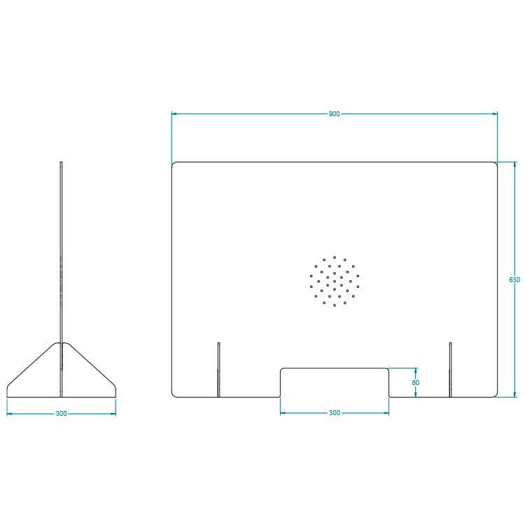 Vitrine hygiaphone mobile - avec passe document vue de face