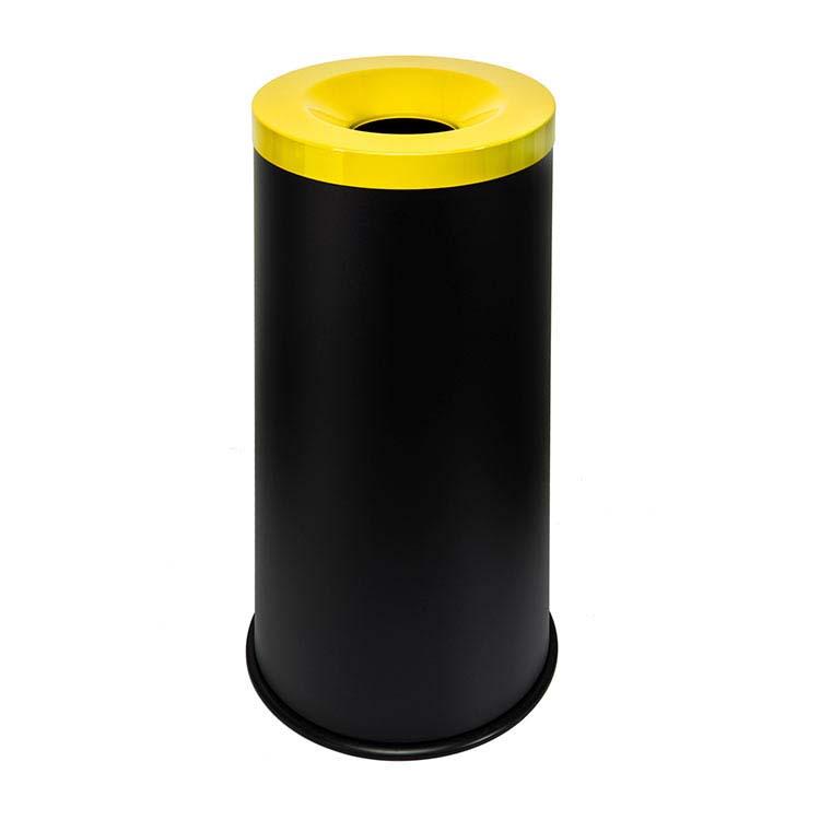 Corbeille anti-feu Autoextint noir/couv. jaune - 50 litres