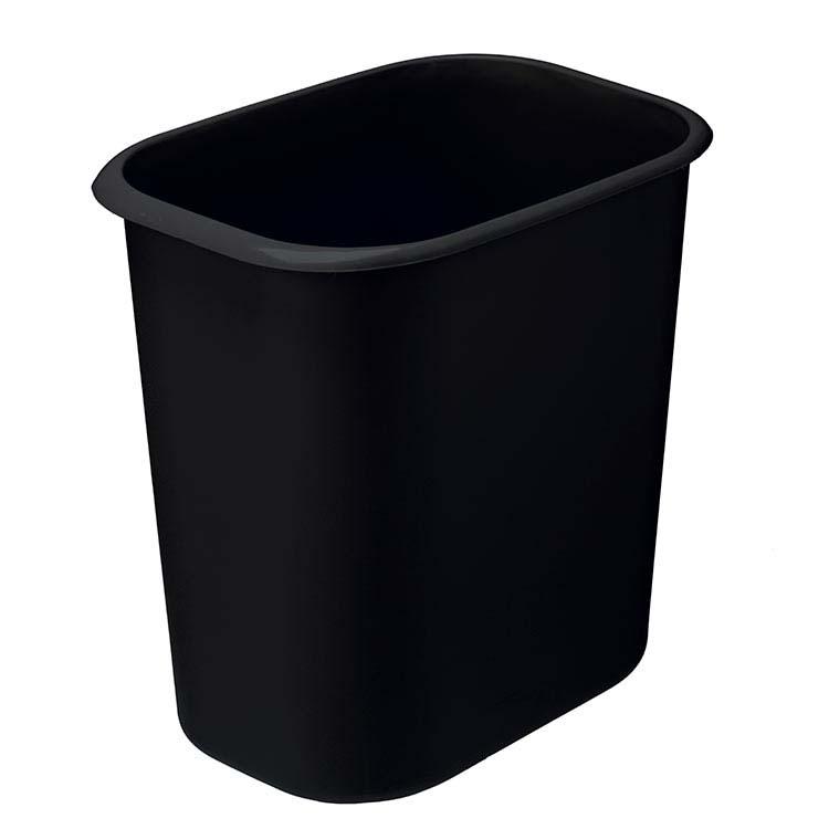 Corbeille plastique rect. anti-feu noir - 14 litres