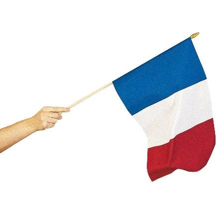 Drapeau français tricolore sur hampe de 30 x 45 cm