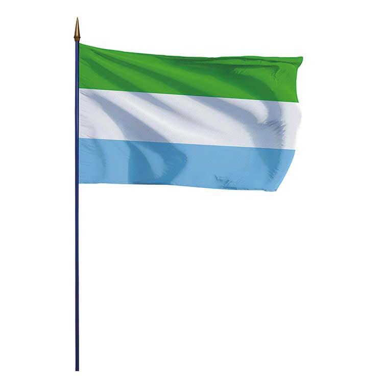 Drapeau Sierra Leone sur hampe