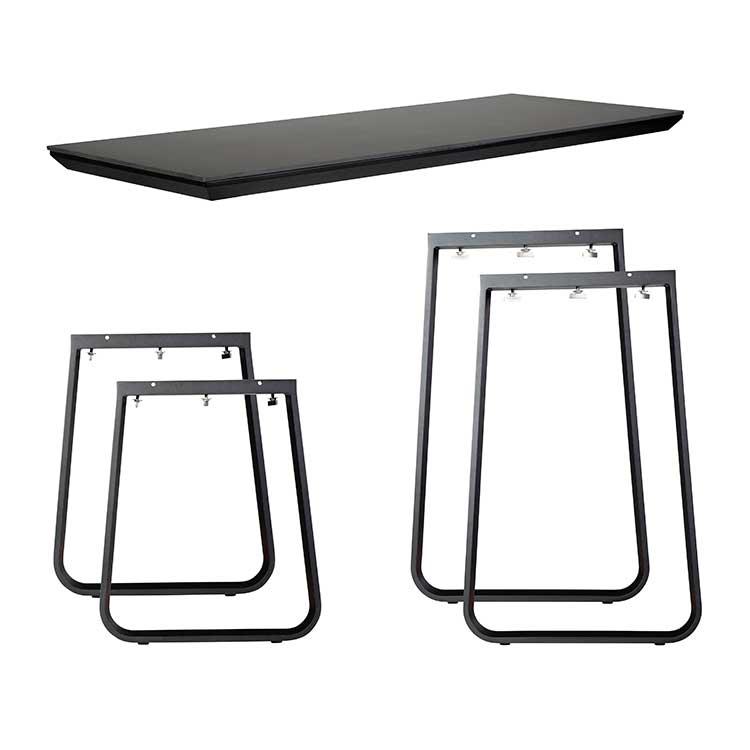 Ensemble table haute/dinner Salt noir - plateau compact 12 mm
