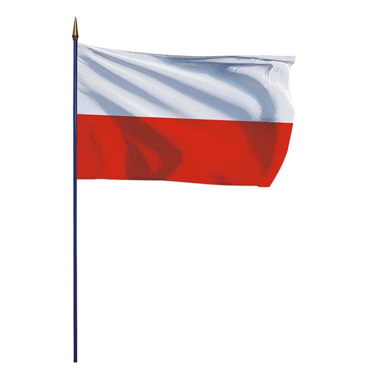 Drapeau Pologne sur hampe