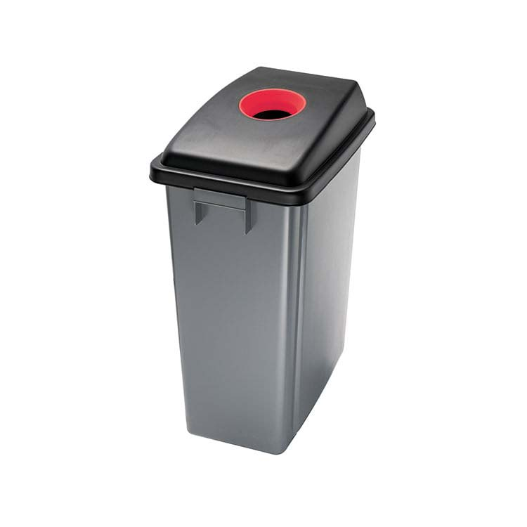 Corbeille Office grise/ouvert. bouteille rouge - 60 litres