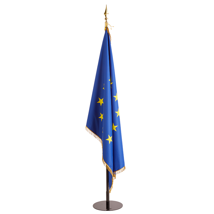 Drapeau de l'Europe à franges sur socle