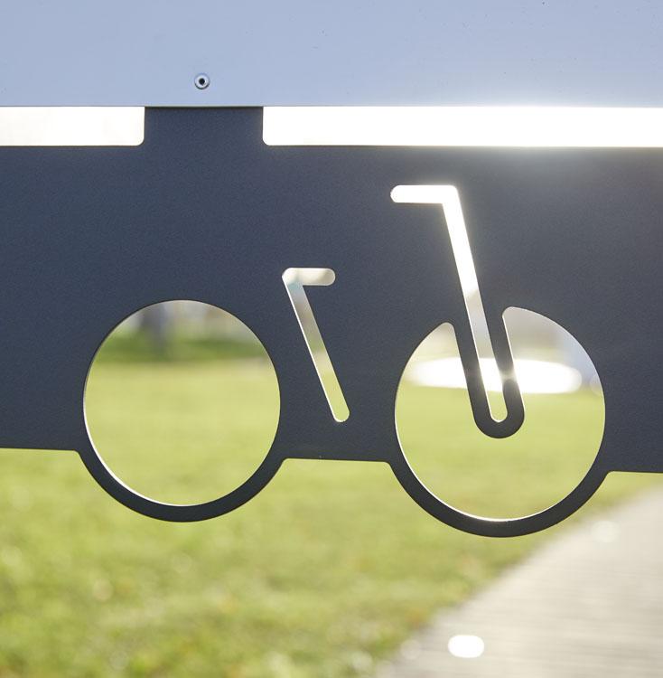 Zoom découpe laser arceau vélos personnalisable