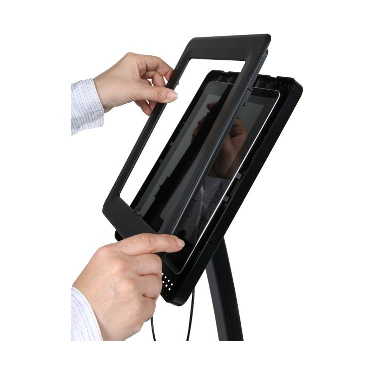 fixation du cadre support tablette sur pied