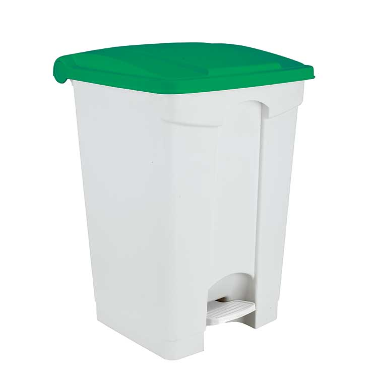 Conteneur à pédale blanc 70 litres - couvercle vert