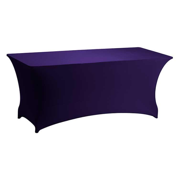 Housse stretch violet pour table pliante rect. 183 x 76 cm