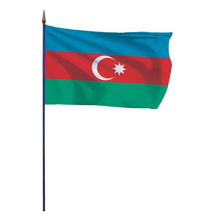 Drapeau Azerbaïdjan sur hampe