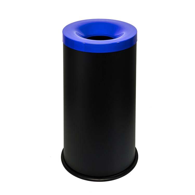 Corbeille anti-feu Autoextint noir/couv. bleu - 90 litres