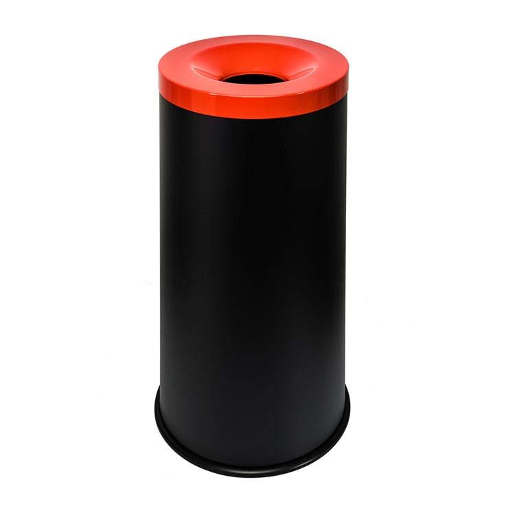 Corbeille anti-feu Autoextint noir/couv. rouge - 50 litres