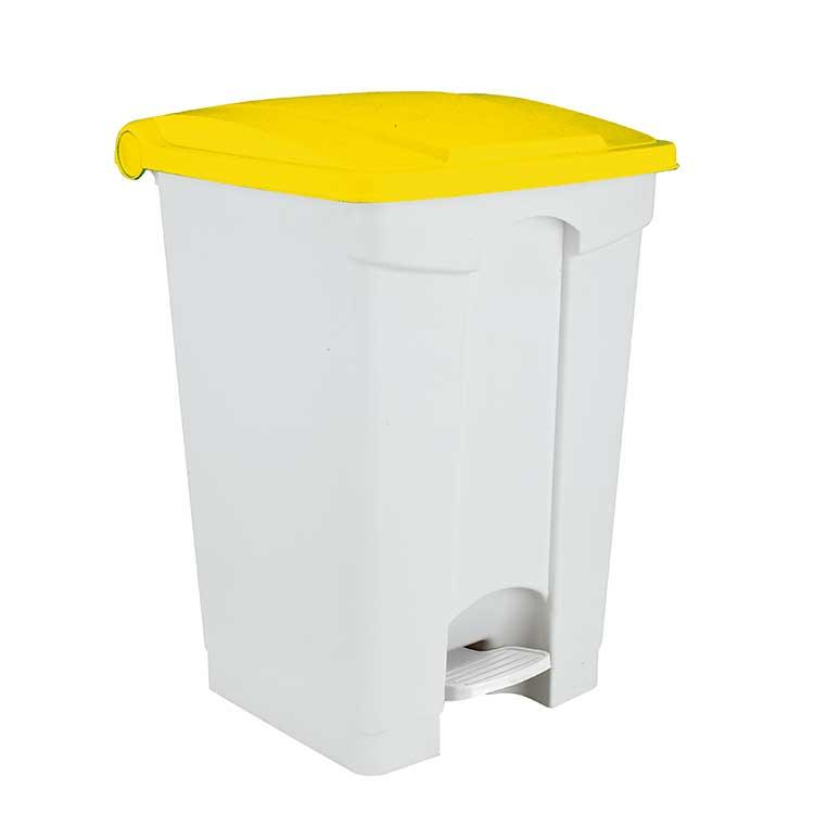 Conteneur à pédale blanc 70 litres - couvercle jaune