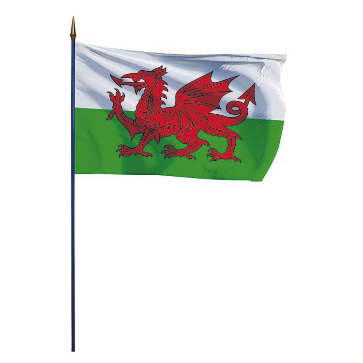 Drapeau du Pays-de-Galles (UK) sur hampe