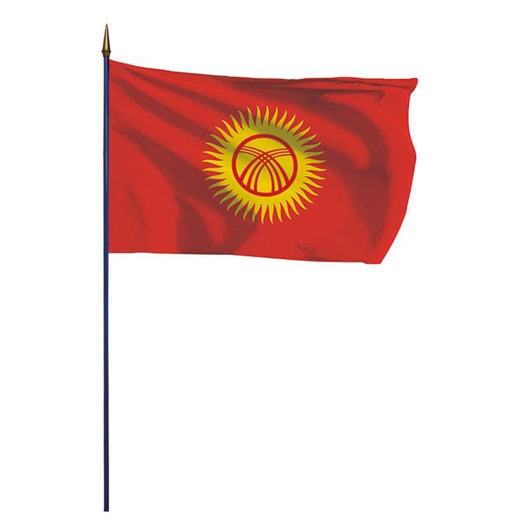 Drapeau Kirghizistan sur hampe