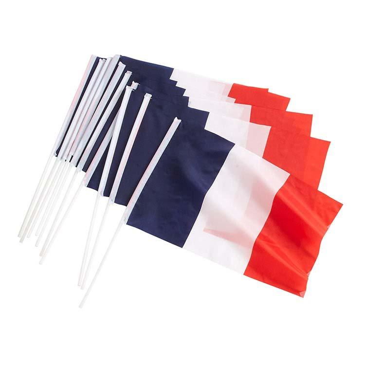 Lot de 10 drapeaux Français de supporter en tissu
