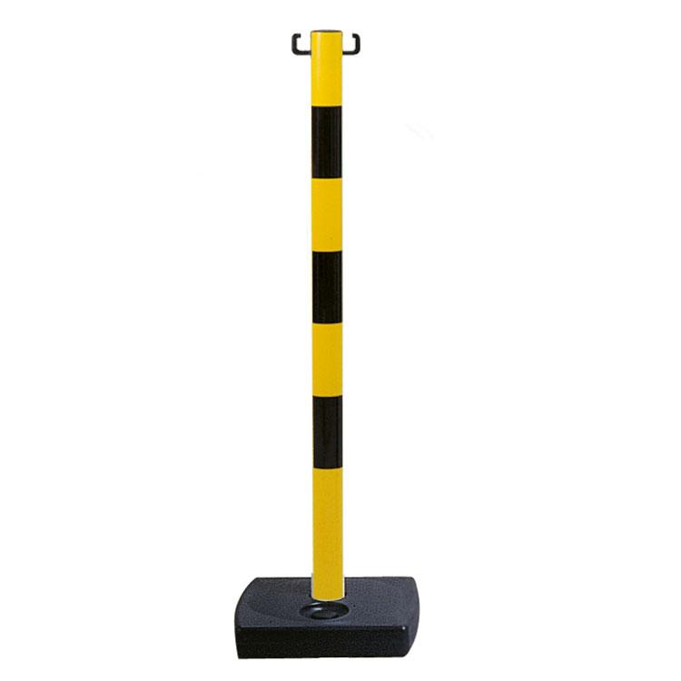 Poteau PVC à poser jaune et noir