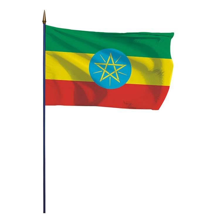 Drapeau Ethiopie sur hampe