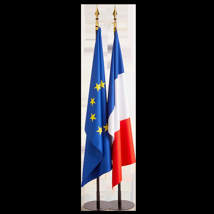 Drapeau France et Europe sur socle