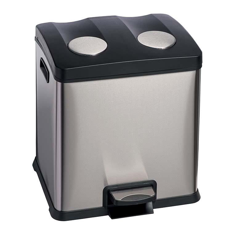 Corbeille à pédale Selecta Inox brossé - 2 x 12 litres