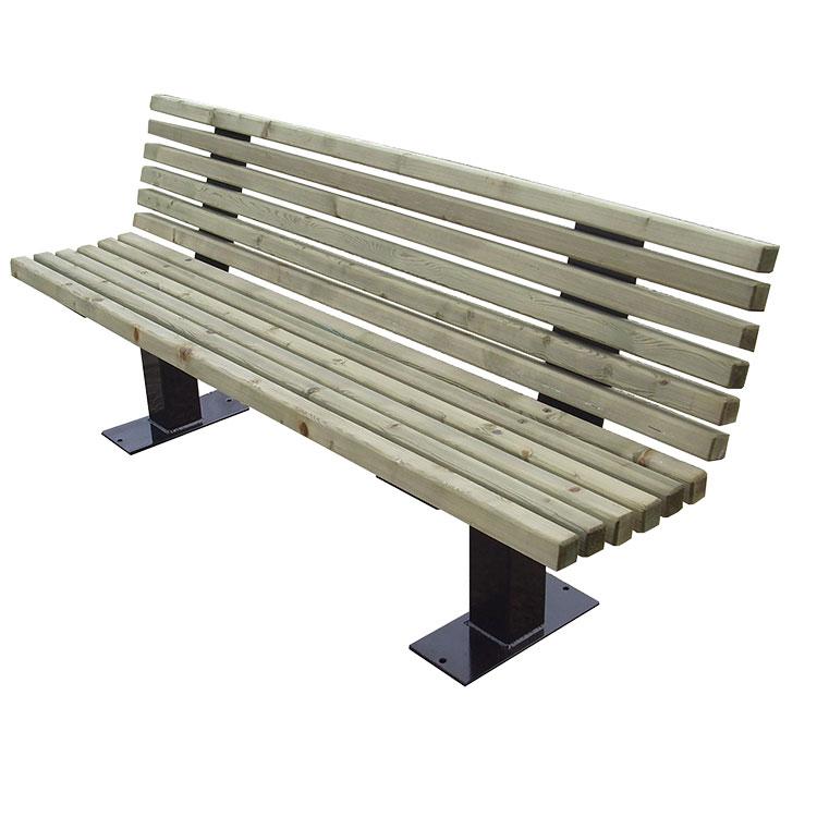 Banc public en bois et acier