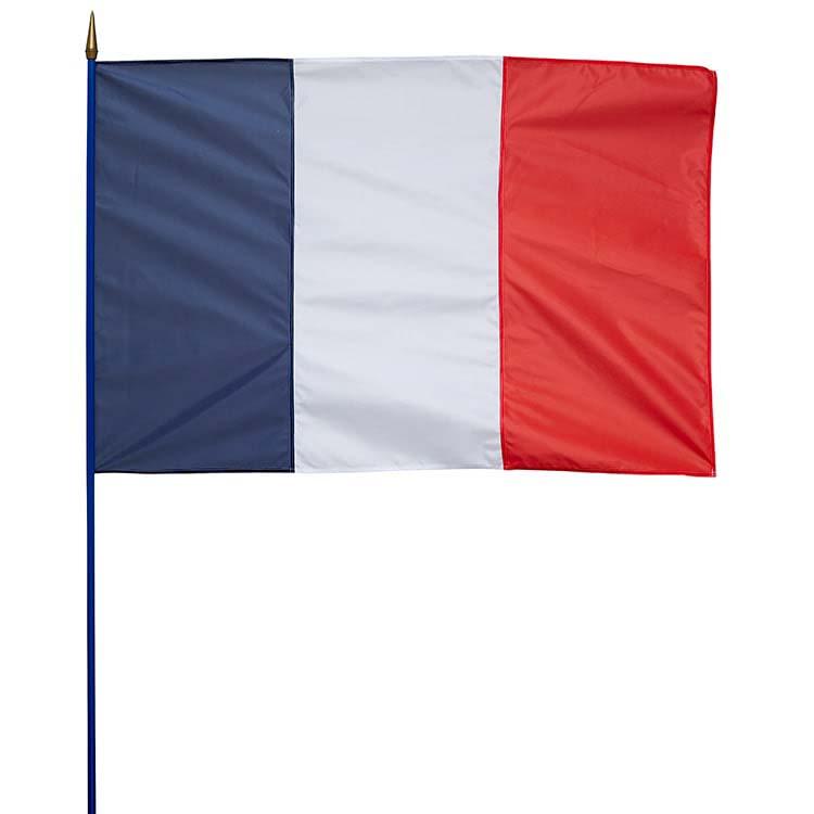 Drapeau de la France sur hampe en bois 100x150