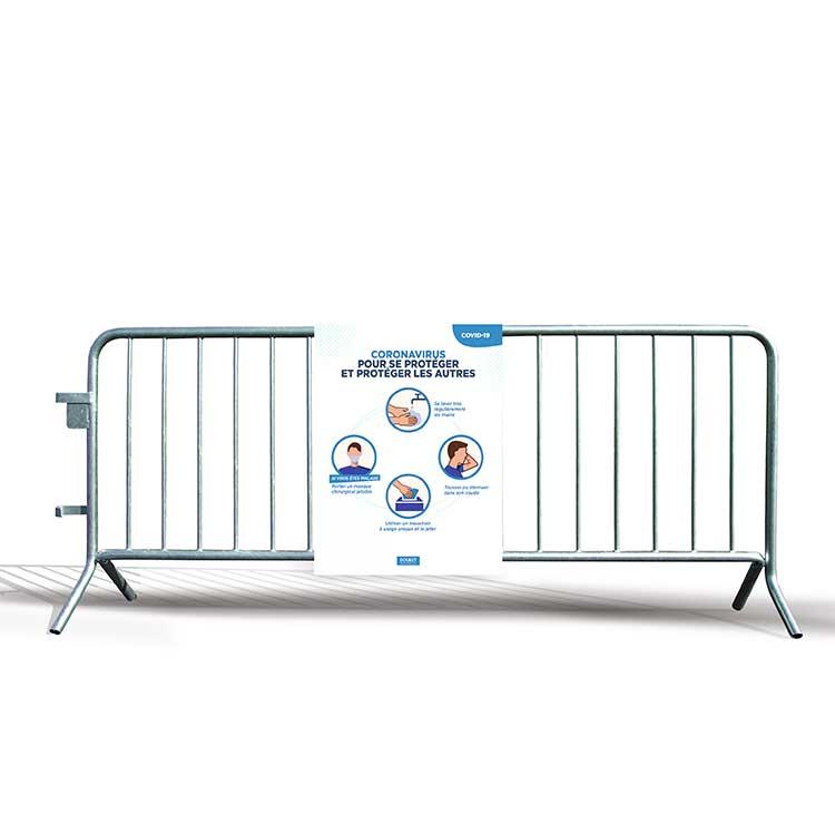 Panneau alvéolaire gestes barrières sur barrière police