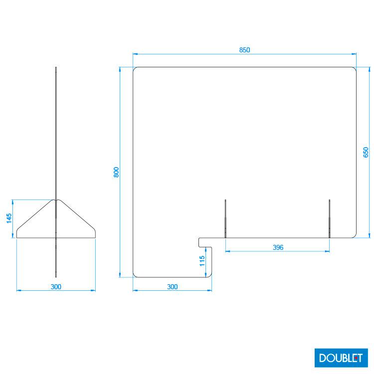 Plan paroi vitrée H. 80 x L. 85 cm