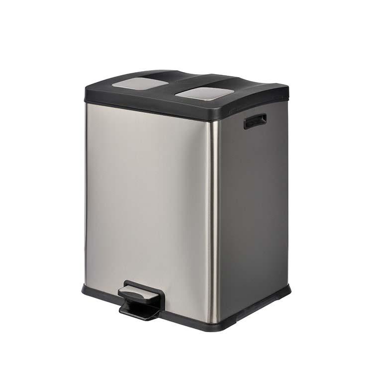 Corbeille à pédale Selecta Inox brossé - 2 x 30 litres