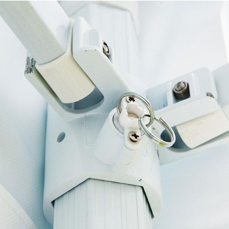 Tente pliante Eos ouverte - Toile Polyester unie blanche réglable en hauteur